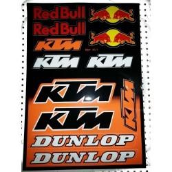 FOLHA DE AUTOCOLANTES KTM RED BULL XL